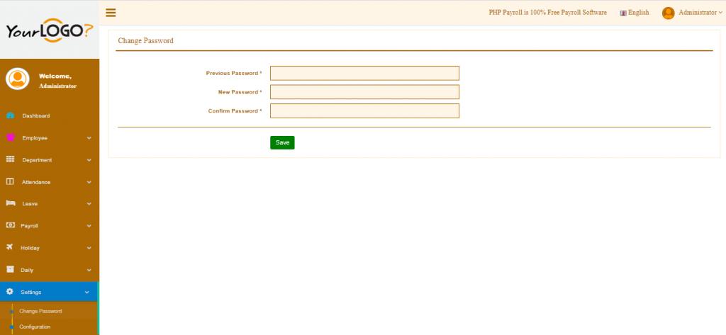 Settings Management - Change Password